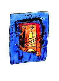 """""""Ein Eiskristall von Hale Bopp"""" / WVZ 1.328 / datiert 05.04.97 / schwarze und farbige Tusche auf Papier / Maße b 21,0 cm * h 29,7 cm"""