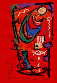 """""""Komposition auf Rot"""" / Torrox, 20.11.08 / Original Grafik mit Kreide auf rotem Papier / B 21,0 cm * H 29,7 cm / Werkverzeichnis 3.815"""