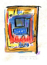 """Andalucia II"" / WVZ 3.679 / Datiert Torre del Mar, 14.02.2004 / Aquarell und Kreide auf Papier / Maße b 21,0 cm * h 29,7 cm"