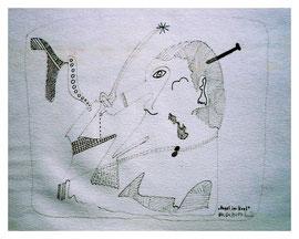 """""""Nagel im Kopf"""" 04.04.1994, Werkverzeichnis 410, Bleistift und Filzstift auf Papier, b 32,0 cm * h 24,0 cm"""