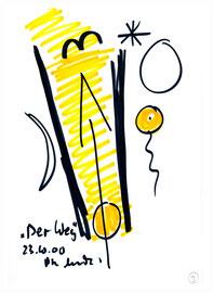 """""""Der Weg"""" / WVZ 3.217 / Bleistift und Filzstift auf Papier / Maße b 21,0 cm * h 29,7 cm"""