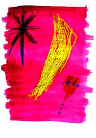 """Affentraum"" / Serie v. 13 Arbeiten / hier 4/13 WVZ 3.753 / datiert 2005 / Kreide, Tinte, Bleistift, Aquarell auf Papier / b 30,0 cm * h 42,0 cm"