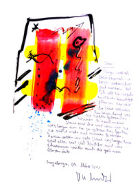 """""""Steine"""" / Sayalonga, 09. März 2011 / Originalgrafik als Sprechbild mit Text, gemalt mit Aquarell, Tusche und Text auf Papier / Größe: b 25,0 cm * h 35,0 cm / Werkverzeichnis 3.936"""