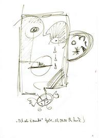 """""""Ich als Zombi"""" / WVZ 3.169 / datiert 19.09.2000 / Filzstift auf Papier / Maße b 21,0 cm * h 29,7 cm"""