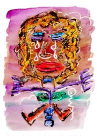 """""""Die Sonne färbte lila ihr Gesicht"""" / Druckgrafik als Ausschnitt eines meiner Kunstwerke / Größe b 21,0 cm * h 29,7 cm / Werkverzeichnis Nachträge"""