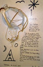 """""""Banalität"""" WVZ 2.120 / 11.07.99 Verschiedene Drähte, Schrauben, Metallhalter, Ring, Schlüssel, Huthaken, weiße Farbe, Malerei + Text auf Spanplatte. Maße b 23,5 cm * h 36,5 cm"""