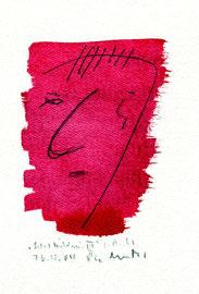 """""""Selbstbildnis VI"""" / WVZ 3.746 / datiert T. d. M., 23.11.04 / Tinte und Bleistift auf Papier / Maße b 23,0 cm * h 31,0 cm"""