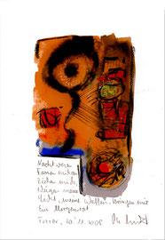 """""""Nachtwesen fassen mich an"""" / Torrox, 20.11.08 / Sprechbild mit Text als Original Grafik mit Kreide und Aquarell auf Papier / B 21,0 cm * H 29,7 cm / Werkverzeichnis 3.817"""