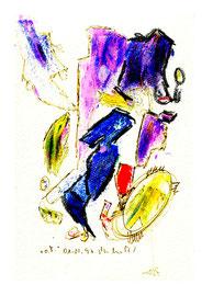 """""""o. T."""" / Werkverzeichnis 1.279 / datiert 01.02.97 / Filzstift und diverse Farben auf Papier / Maße b 12,0 cm * h 18,0 cm"""