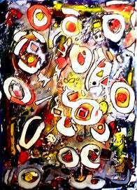 """""""Asyl"""" 1994, Werkverzeichnis 394, Eintrittskarten, Fahrscheine, Zeitungsausrisse, Öl-, Acryl-, Textilfarbe u.a. auf Leinwand, b 78,0 cm * h 108,0 cm"""