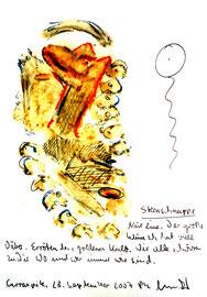 """""""Sternschnuppe"""" 7 Sayalonga, den 28. September 2007 / Sprechbild mit Text / Original Grafik / Aquarell, Asche, Filzstift, Text auf Papier / B 14,7 cm * H 21,0 cm / WVZ 3787"""