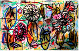 """""""Kraftvoll verblühen"""" 02.01.1994, Werkverzeichnis 397, Kreiden, Tusche und diverse weitere Farben auf Batic auf Spanplatte, b 69,2 cm * h 44,5 cm"""