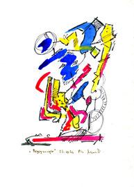 """""""Begegnungen"""" / WVZ 1.035 / datiert 03.10.96 / Tinte, Bleistift und Filzstift auf Papier / Größe b 18,0 cm * 24,0 cm"""