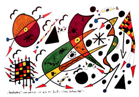 """""""Landschaftern"""" - noch politisch - """"Sieben fliehende Vögel"""" Gestringen, den 24.10.93 Werkverzeichnis 365 Textilfarbe auf Aquarellpapier b 40,0 cm * h 30,0 cm"""