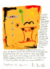 """""""Zivilisation / Wolfssohn"""" / Sayalonga, 03. März 2011 / Originalgrafik als Sprechbild mit Aquarell, Tusche und Text auf Papier / Größe: b 25,0 cm * h 35,0 cm / Werkverzeichnis 3.935"""