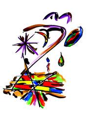 """""""Teenagers dream"""" II vom 13.10.1995, Werkverzeichnis 580, Aquarell, Kohle und Tusche auf Papier, Größe b 34,0 cm * h 46,0 cm."""