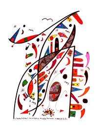 """""""Landschaftern"""" - Die Schöpfung der sechs Kontinente - 19.08.1994, Werkverzeichnis 420, Textilfarbeüber über Filzstift auf Papier, b 34,0 cm * h 46,0 cm"""