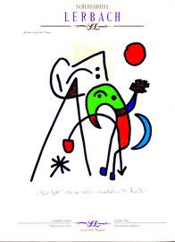 """""""Grüß Gott"""" - """"Landschaftern"""" WVZ 464, vom 04.01.1995, Textilfarbe und Kreide auf Hotelblock, Größe b 21,0 cm * h 29,7 cm"""