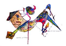 """""""o. T. (Gedanken zu Begegnungen in Lübben)"""" / WVZ 1.007 / datiert 06.07.1996 / Filzstift und diverse Farben auf Papier / Größe b 40,0 cm * 30,0 cm"""