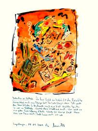 """""""Gedanken an Lübbecke"""" / Sayalonga, 18. Januar 2009 / Sprechbild mit Text als Originalgrafik mit Ölkreide, Aquarell und Bleistifttext auf 200-g-Papier / Größe b 35,0 cm * h 50,0 cm / Werkverzeichnis 3.848"""