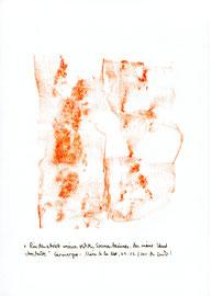 """Hier Platzabrieb 6: """"Rindenabrieb meines rechten Sonnenbaumes, den meine Hand streichelte"""" / Werkverzeichnis 3.319 / Datiert Camargue - Maries de la Mer, am 09.03.2001 / Platzabrieb mit orangenfarbener Öl- bzw. Wachskreide Maße b 21,0 cm * h 29,7 cm"""