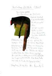 """""""Heutzutage glücklich (Clown)"""" / Werkverzeichnis 2.330 / Datiert Steyerberg, 19.10.99 / Aquarell, Tusche und Text auf Papier / Maße b 21,0 cm * h 29,7 cm"""