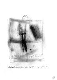 """""""Aschenfensterblick mit Hut"""" / WVZ 3.216 / Bleistift und Asche / Filzstift / Maße b 21,0 cm * h 29,7 cm"""