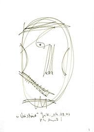 """Weisheit"" / WVZ 3.172 / datiert 19.09.2000 / Filzstift auf Papier / Maße b 21,0 cm * h 29,7 cm"