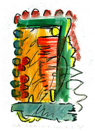 """Ende"" / WVZ 3.680 / Datiert Torre del Mar, 14.02.2004 / Aquarell und Kreide auf Papier / Maße b 21,0 cm * h 29,7 cm"