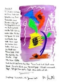 """""""Carraspite"""" / Sayalonga - Carraspite, 05. Januar 2009 / Sprechbild mit Text als Originalgrafik mit Ölkreide, Aquarell und Bleistifttext auf 200-g-Papier / Größe b 35,0 cm * h 50,0 cm / Werkverzeichnis 3.835"""