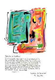 """""""Gedanken an Espelkamp"""" / Sayalonga, 16. Januar 2009 / Sprechbild mit Text als Originalgrafik mit Ölkreide, Aquarell und Bleistifttext auf 200-g-Papier / Größe b 35,0 cm * h 50,0 cm / Werkverzeichnis 3.846"""