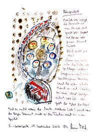 """""""Ausgeufert"""" / Originalgrafik / Aquarell, Asche, Filzstift und Text auf Papier / B 21,0 cm * H 29,7 cm / Werkverzeichnis 3788"""