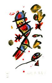 """""""o. T."""" III Werkverzeichnis 571, Aquarell und Kohle auf Büttenpapier aus 10/95, Größe b 10,0 cm * h 16,0 cm."""