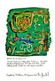 """""""Gedanken bei der Olivenernte/ Sayalonga-Andalucia, 09. Januar 2009 / Sprechbild mit Text als Originalgrafik mit Ölkreide, Aquarell und Bleistifttext auf 200-g-Papier / Größe b 35,0 cm * h 50,0 cm / Werkverzeichnis 3.839"""