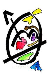 """""""o. T."""" II Werkverzeichnis 826, vom 03.11.95, Tusche, Aquarellfarben und Textilfilzstifte auf Papier, Größe Arbeit II = b 30 cm * h 40 cm"""