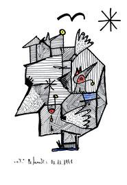 """""""o. T."""" Werkverzeichnis 1.793 Datiert 01.11. 98 Filzstift, rote und blaue Kreide auf Papier Maße b 25,5 cm * h 34,2 cm"""