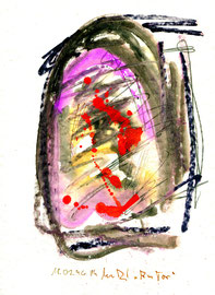 """Am Tor"" / WVZ 942 / datiert 18.02.96 / Bleistift, Aquarell, Tinte und Kreide auf Papier / Größe b 24,0 cm * 32,0 cm"