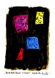 """""""Nur die Harten komm´n in Garten"""" / WVZ 1.063 / datiert 26.10.96 / Aquarell und Filzstift auf Wasserzeichenpapier / b 21,0 cm * 29,7 cm"""
