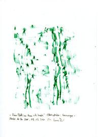 """Hier Platzabrieb 8: """"Mein Platz, an dem ich kniete - Platzabrieb"""" / Werkverzeichnis 3.321 / Datiert Camague - Maries de la Mer, am 09.03.2001 / Platzabrieb mit grüner Öl- bzw. Wachskreide / Maße b 21,0 cm * h 29,7 cm"""
