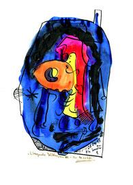 """""""Eindringender Gelbling im All - ein Nichts"""" / WVZ 1.326 / datiert 05.04.97 / schwarze und farbige Tusche auf Papier / Maße b 21,0 cm * h 29,7 cm"""