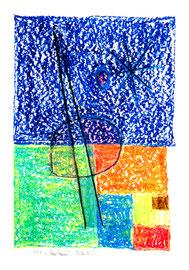 """""""Marsbaum"""" / 1230 / 1997 / teils-teils: Ölkreide, Kreide, Kohle, Bleistift, Zeitungsabdruck und Aquarell auf Papier / Maße jeweils b 36,0 cm * h 48,0 cm"""