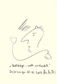 """""""Hutträger - noch männlich"""" / Sayalonga, den 02.02.2007 / Originalgrafik / Bleistift auf Papier / B 14,8 cm * H 21,0 cm / Werkverzeichnis 3779"""