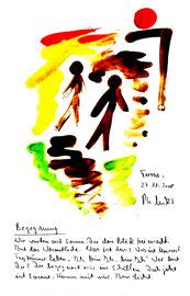 """""""Begegnung"""" / Torrox, den 27.11.2008 / """"Sprechbild"""" mit Text als Original Grafik mit Aquarellfarben, Bleistift und Text auf Papier / B 21,0 cm * H 29,7 cm / Werkverzeichnis 3.819"""