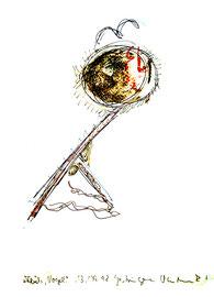 """""""Flieh, Vogel"""" / Werkverzeichnis 1.724 / signiert Gestringen, 13.09.98 / Kugelschreiber, Buntstift und Asche auf Papier/ Maße 29,4 cm * 42,0 cm"""