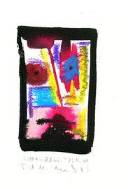 """Selbstbildnis I"" / WVZ 3.741 / datiert T. d. M., 23.11.04 / Aquarell, Kreide und Tusche auf Papier / Maße b 23,0 cm * h 31,0 cm"