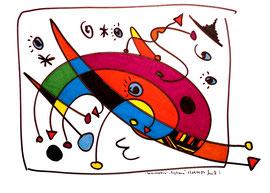 """""""Landschaftern"""" - Tagtraum - 17.09.1994, Werkverzeichnis 425, Textilfarbe und Filzstift auf Papier, b 46,0 cm * h 34,0 cm"""
