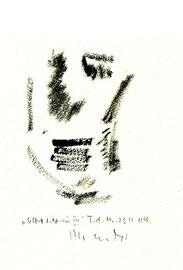 """""""Selbstbildnis III"""" / WVZ 3.743 / datiert T. d. M., 23.11.04 / Kreide auf Papier / Maße b 23,0 cm * h 31,0 cm"""