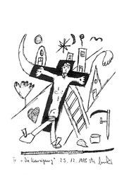 """""""Die Kreuzigung"""" / WVZ 877 / datiert 25.12.1995 / Kohle und Filzstift auf Bütten / Größe b 10,5 cm * 14,8 cm"""
