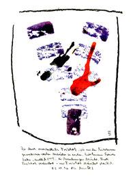 """""""Treibholzabdrucke III"""", WVZ 1.031, datiert 03.10.1996, Kohle und farbige Treibholzabdrucke auf Aquarellpappe. Maße b 21,0 cm * h 29,7 cm"""