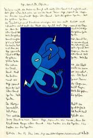 """""""Hejo, spann die Wägen an"""" / Werkverzeichnis 3.588 / datiert Lübbecke, 13. Mai 2002 Zeichnung (""""Bruderkampf"""") und Tintenstrahldruck, versehen mit Filzstiften, Bleistift und Text auf Papier / Maße b 21,0 cm * h 29,7 cm"""